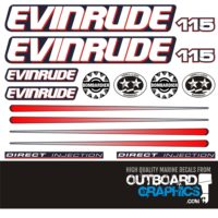 Flag graphic LG EVINRUDE Outboard motor decal kit ALL ENGINE SIZES