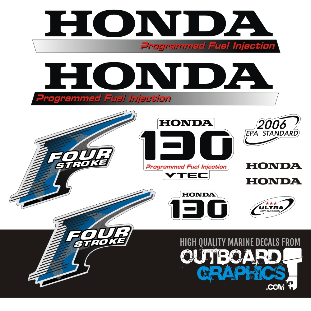 YAMAHA 130hp 2 stroke and 4 stroke outboard decals